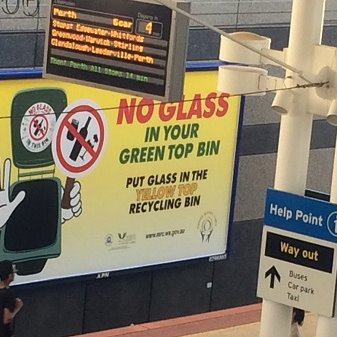 No Glass message at Joondalup Train Station
